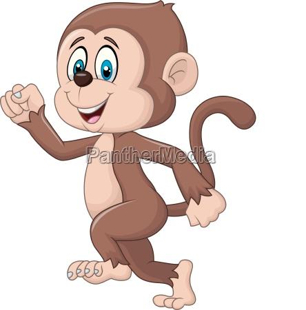cartoon funny monkey isolated on white