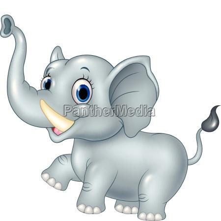 cartoon funny baby elephant isolated on