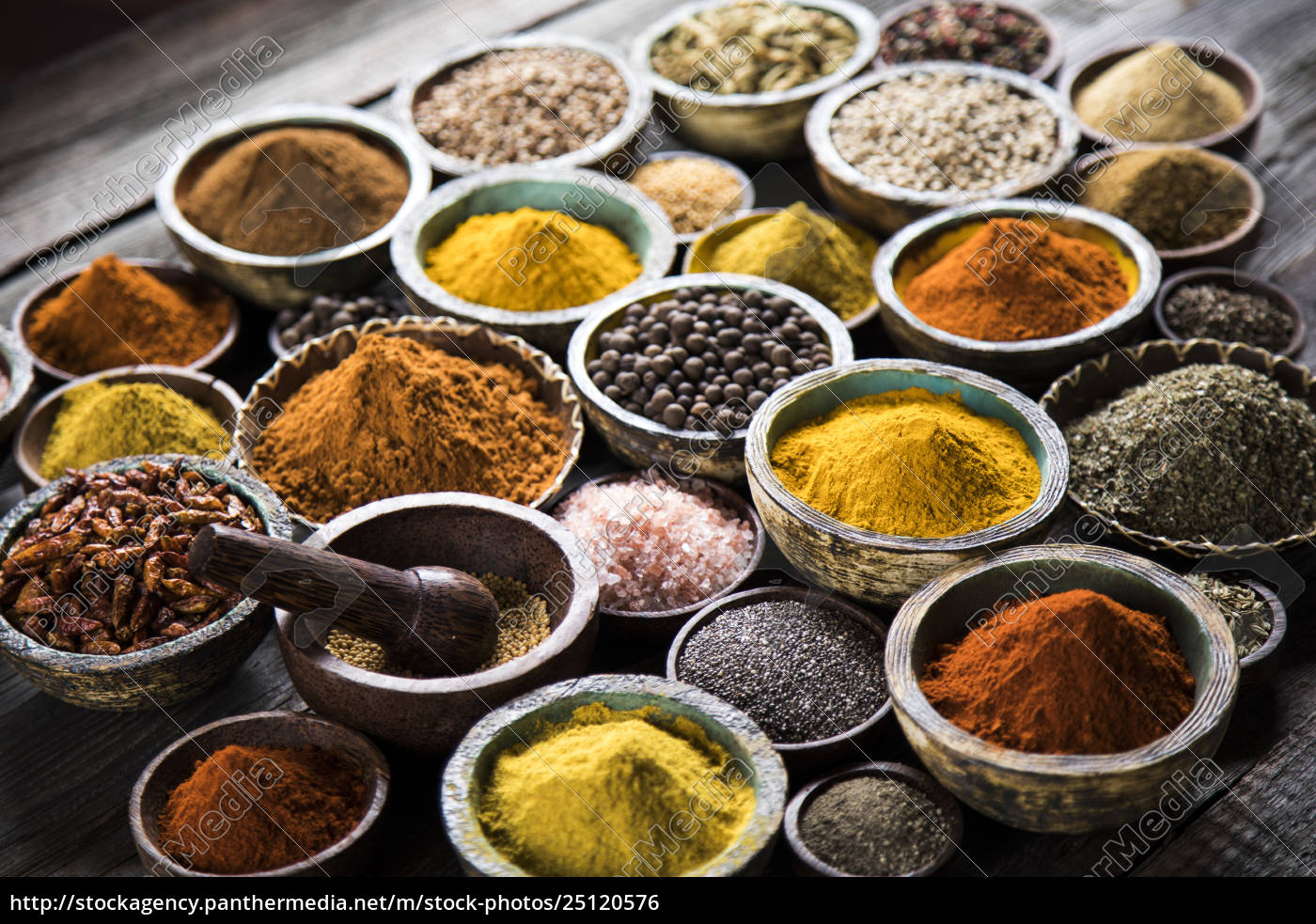 spices, and, herbs, and, wooden, bowl - 25120576