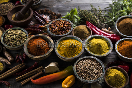 spices, and, herbs, and, wooden, bowl - 25120582