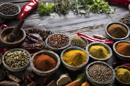 spices, and, herbs, and, wooden, bowl - 25120588