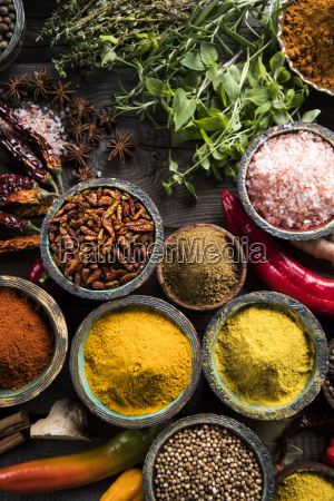 spices, and, herbs, and, wooden, bowl - 25120652