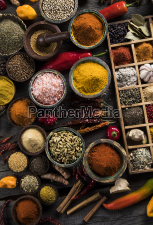 spices, and, herbs, and, wooden, bowl - 25120740