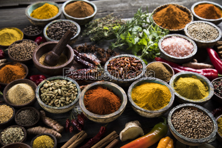 spices, and, herbs, and, wooden, bowl - 25120768