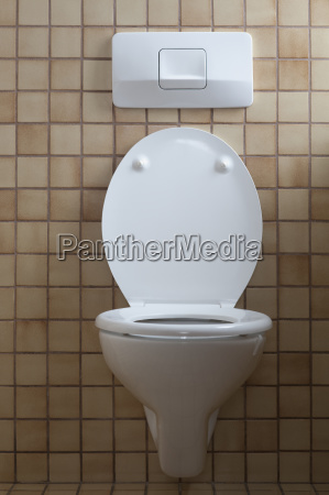 toilet with open toilet lid