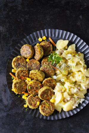veggie burgers and potato salad
