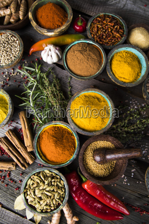spices, and, herbs, and, wooden, bowl - 25121748
