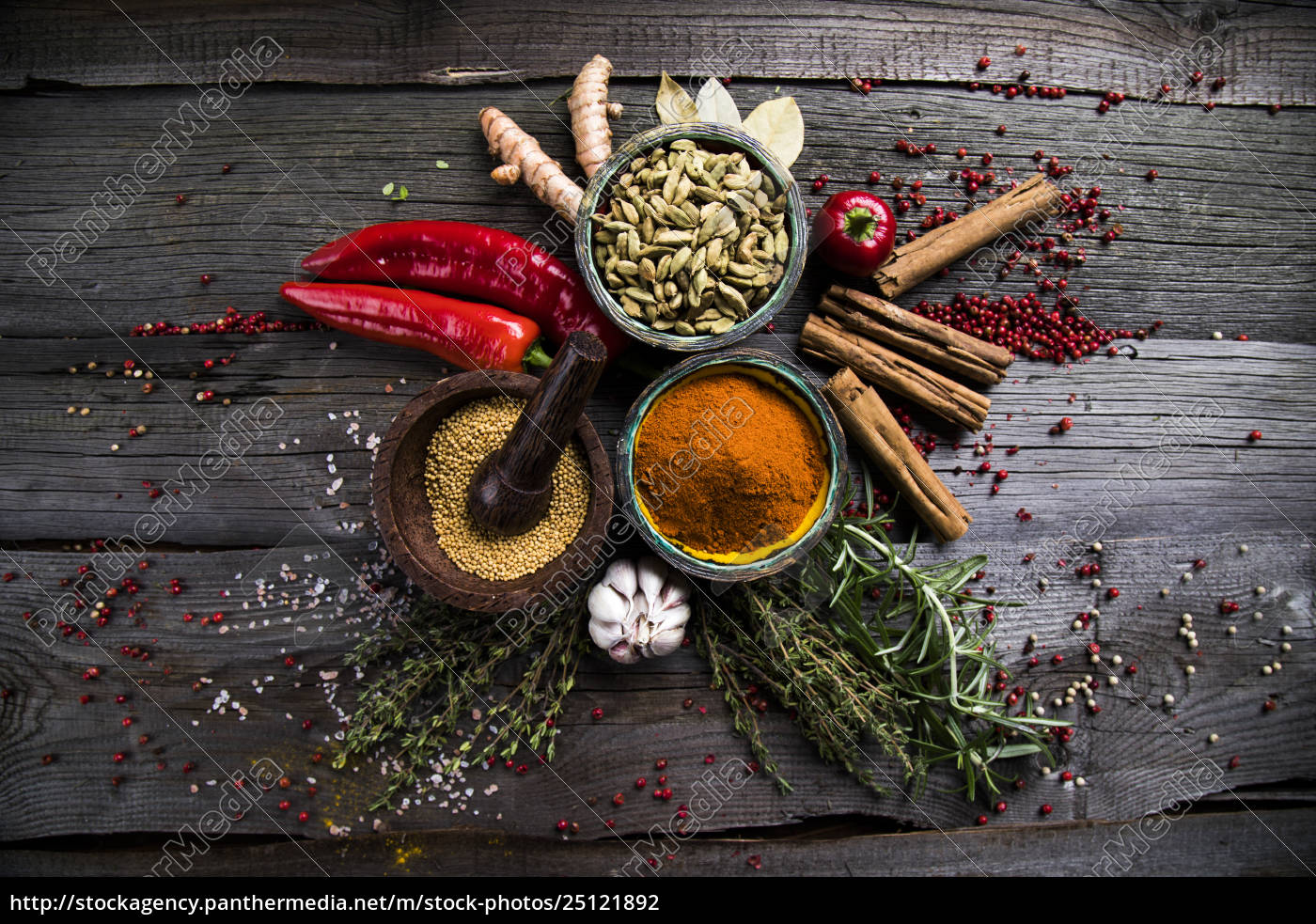 spices, on, wooden, bowl, background - 25121892