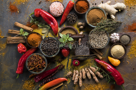spices, and, herbs, and, wooden, bowl - 25122020