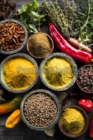 spices, and, herbs, and, wooden, bowl - 25122836