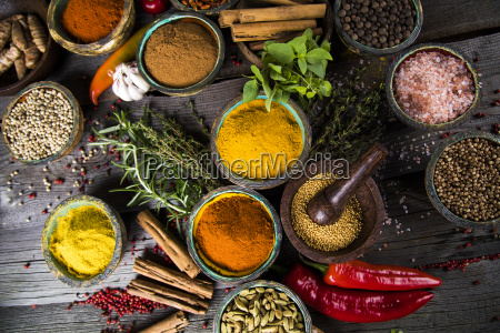spices, and, herbs, and, wooden, bowl - 25122858