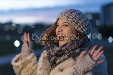 portrait of laughing young woman at