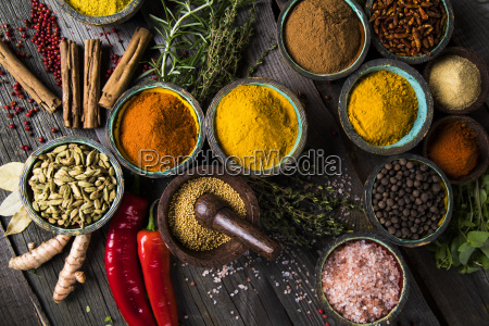 spices, and, herbs, and, wooden, bowl - 25123010