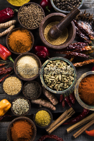 spices, and, herbs, and, wooden, bowl - 25123022