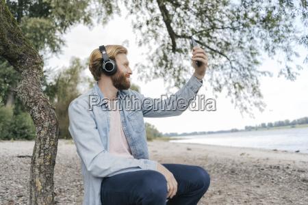 germany duesseldorf man with headphones