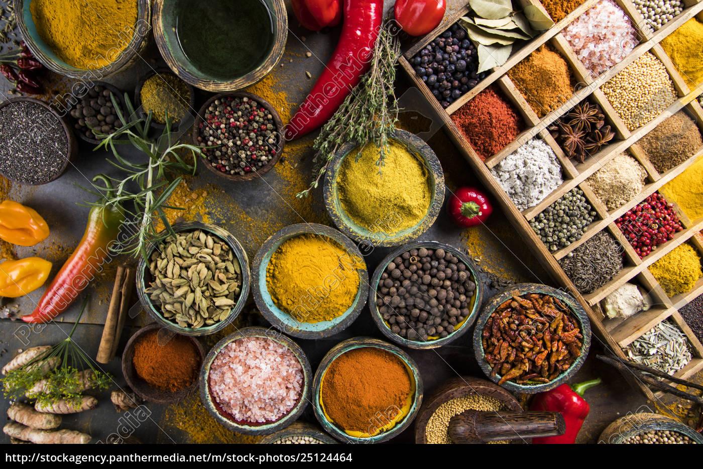 spice, still, life, , wooden, bowl - 25124464