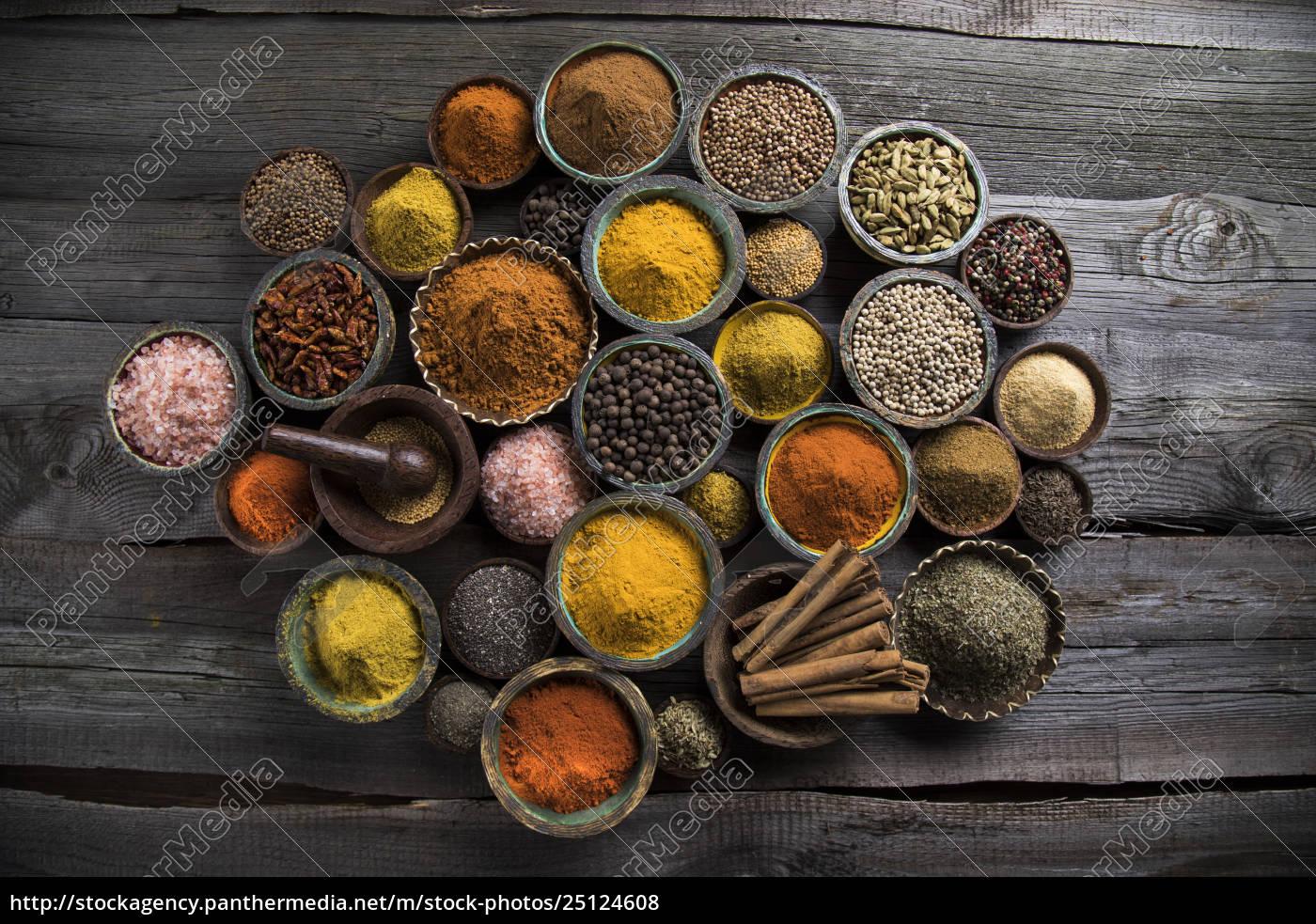 spice, still, life, , wooden, bowl - 25124608