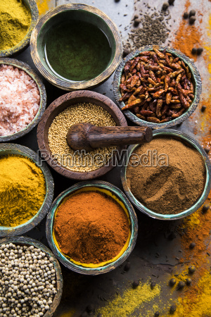 wooden, bowl, , hot, spices - 25124504