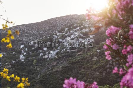 greece thessalia makrinitsa mount pilion against