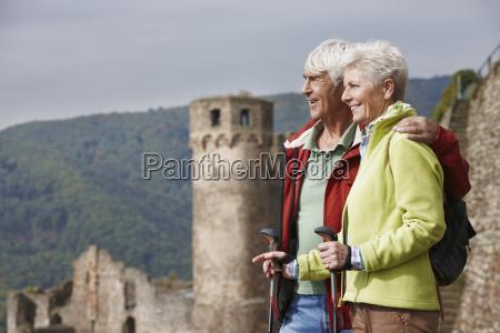 germany rheingau happy senior couple looking