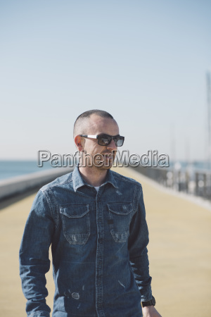 spain barcelona man wearing denim shirt