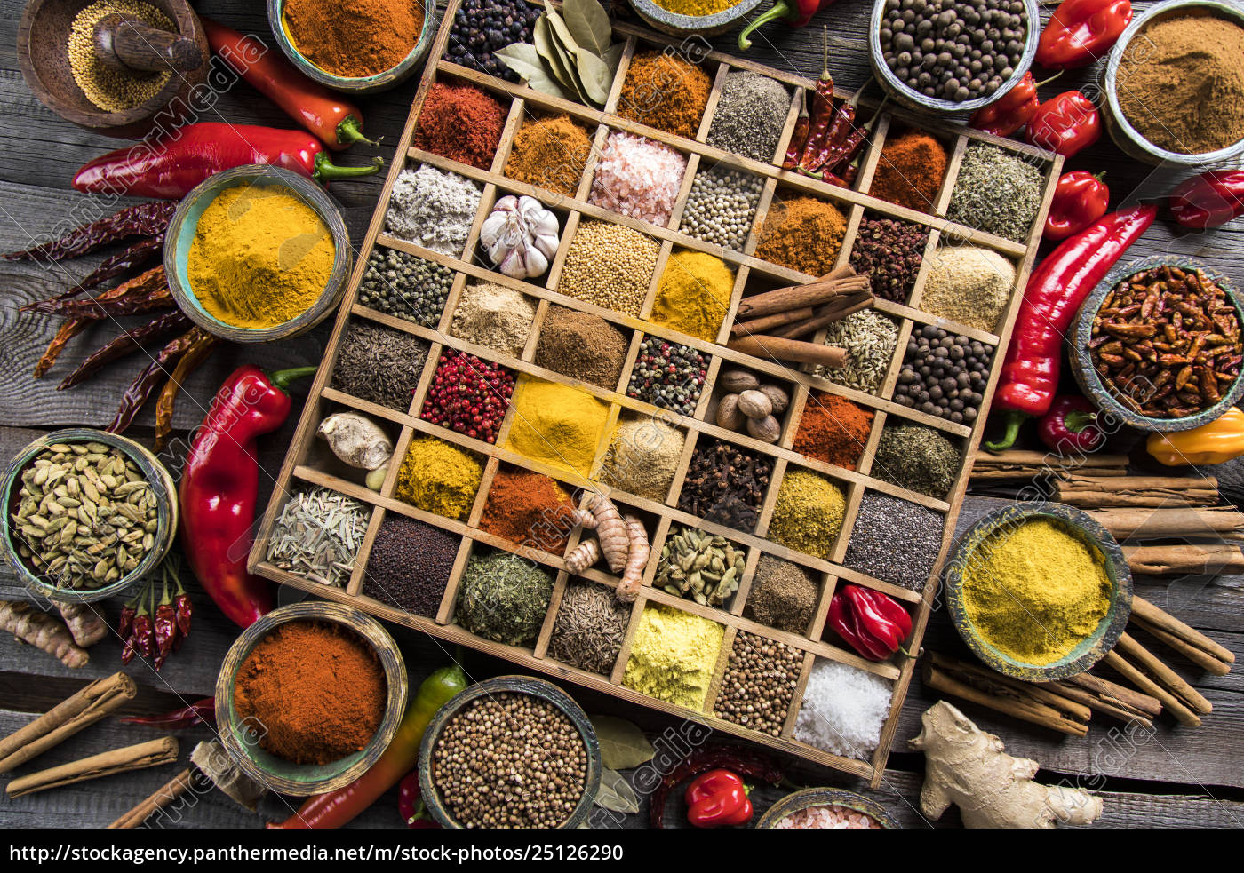 herbs, and, spices, on, a, wooden - 25126290