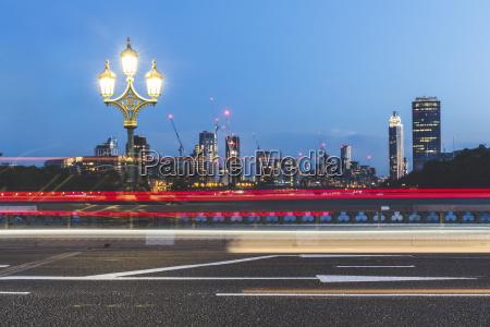 uk london traffic light trails on