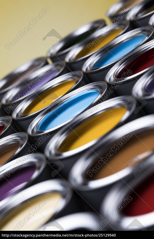 colorful, paint, cans, set - 25129940