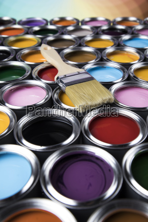 tin, metal, cans, with, color, paint - 25129540