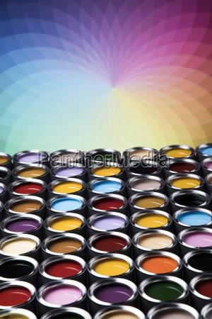colorful, paint, cans, set - 25130744