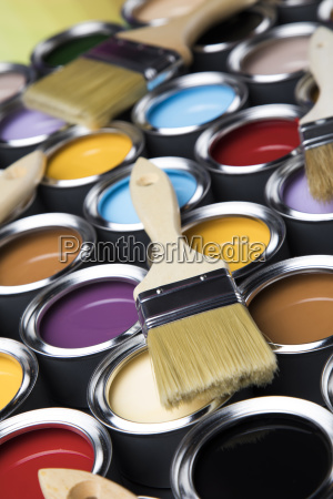 colorful, paint, cans, with, paintbrush - 25130740