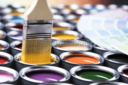colorful, paint, cans, with, paintbrush - 25130748