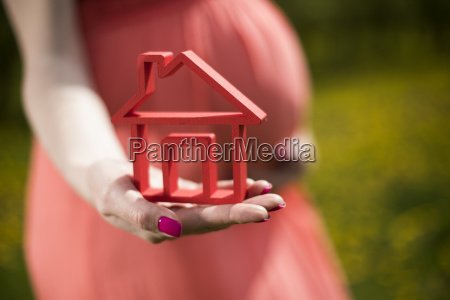 home, , meadow, , spring, , young, beautiful, pregnant - 25130348