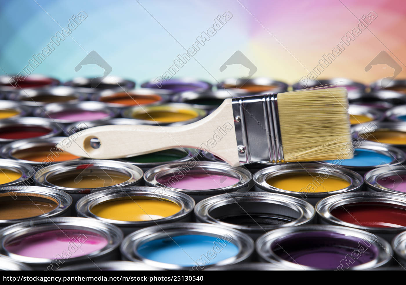 open, paint, cans, with, a, brush, - 25130540