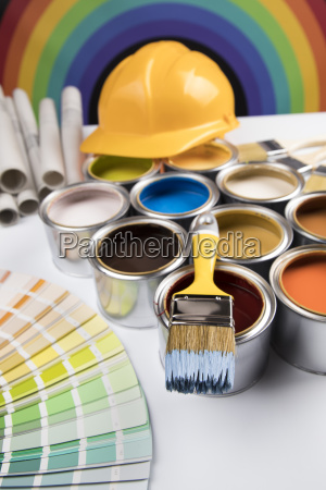 rainbow, colors, , open, cans, of, paint - 25130304