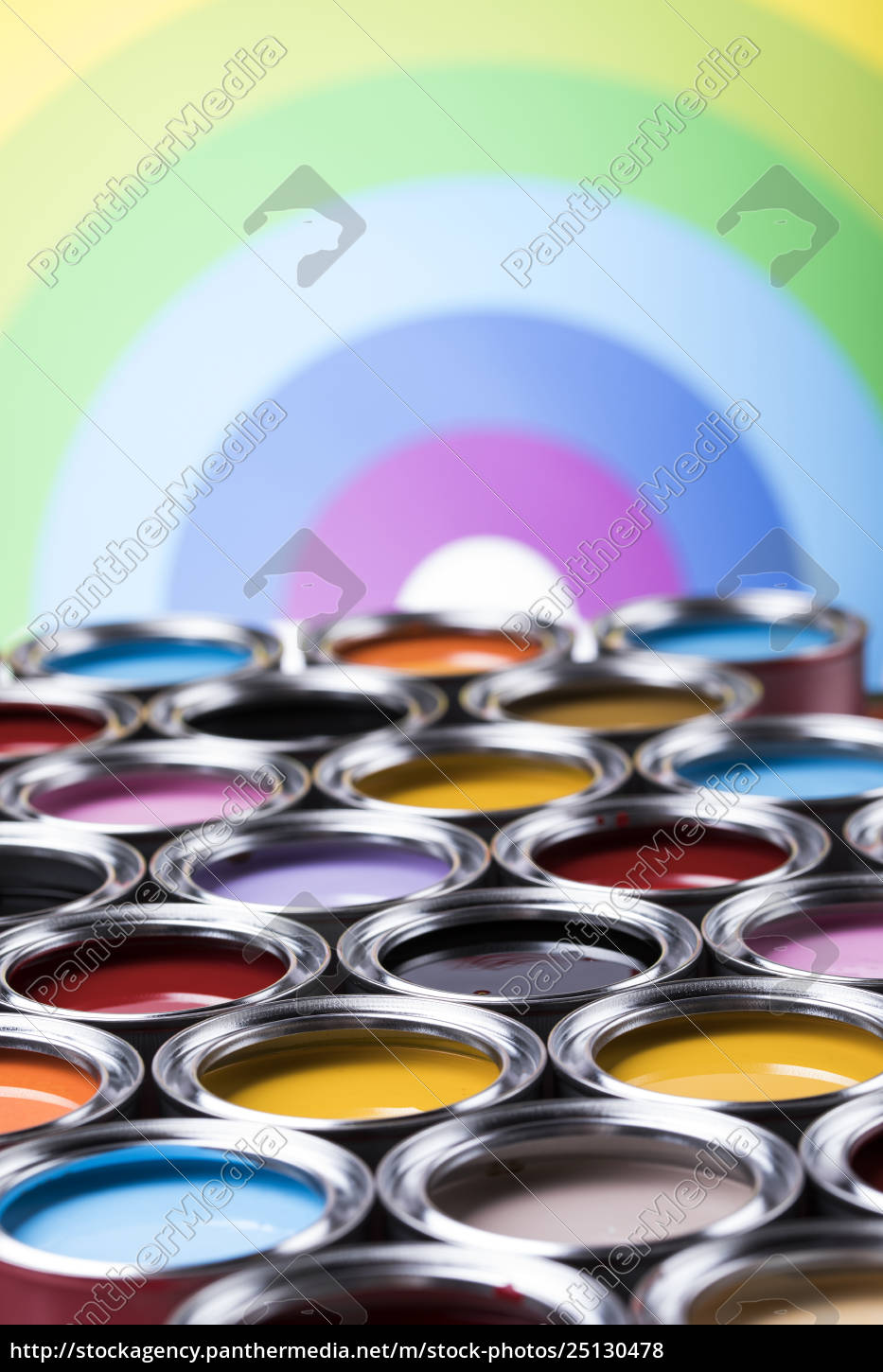 rainbow, colors, , open, cans, of, paint - 25130478