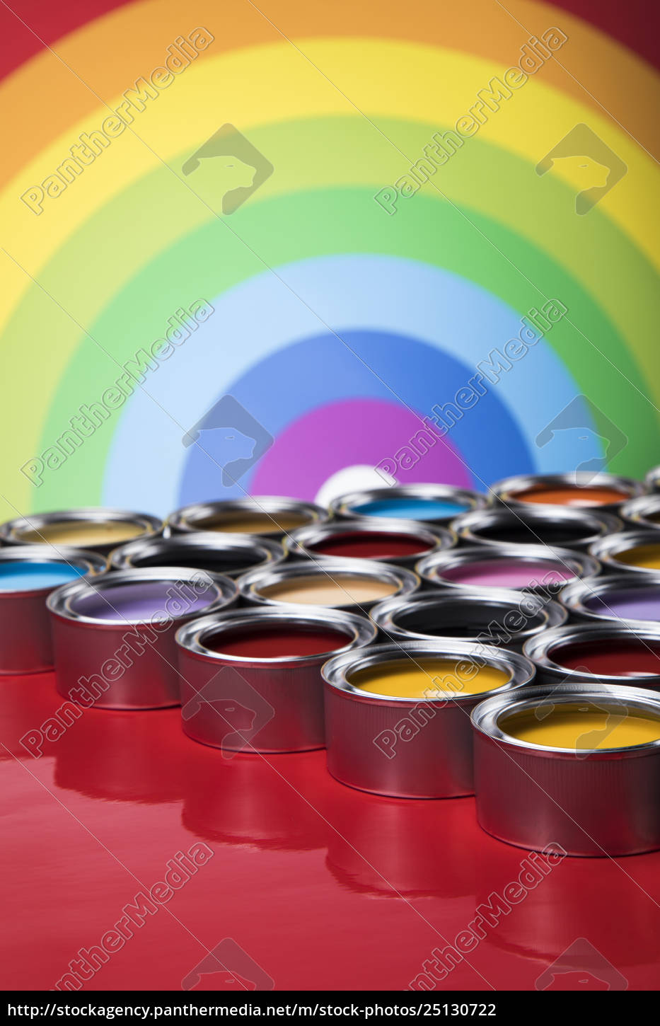 rainbow, colors, , open, cans, of, paint - 25130722