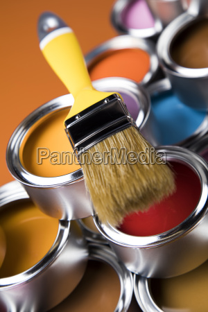 tin, metal, cans, with, color, paint - 25130936