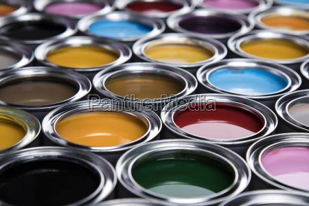colorful, paint, cans, set - 25131056