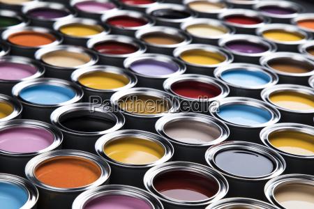 colorful, paint, cans, set - 25131338