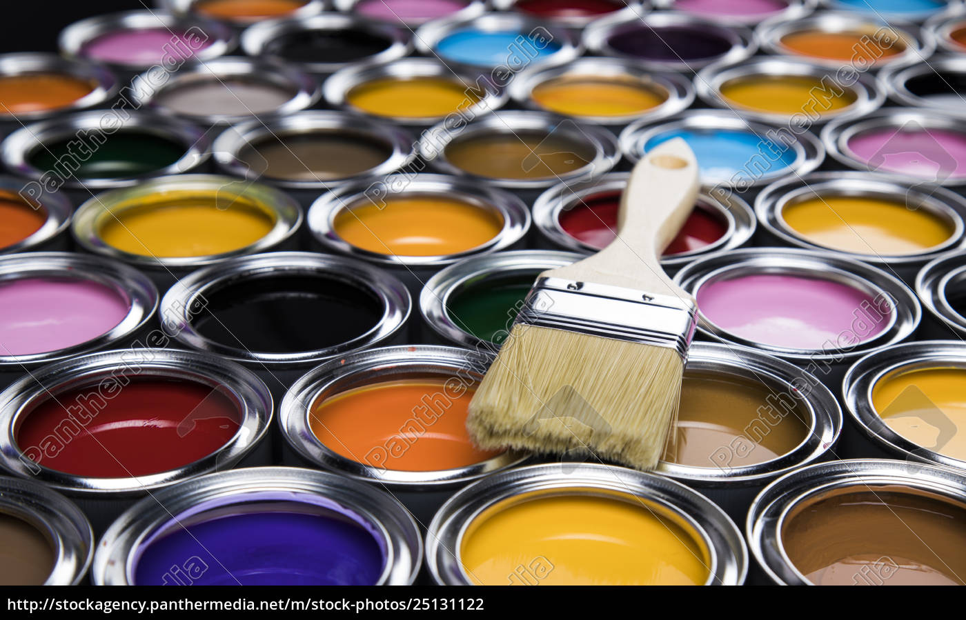 colorful, paint, cans, with, paintbrush - 25131122