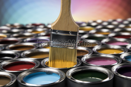 colorful, paint, cans, with, paintbrush - 25131258