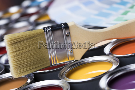 colorful, paint, cans, with, paintbrush - 25131296