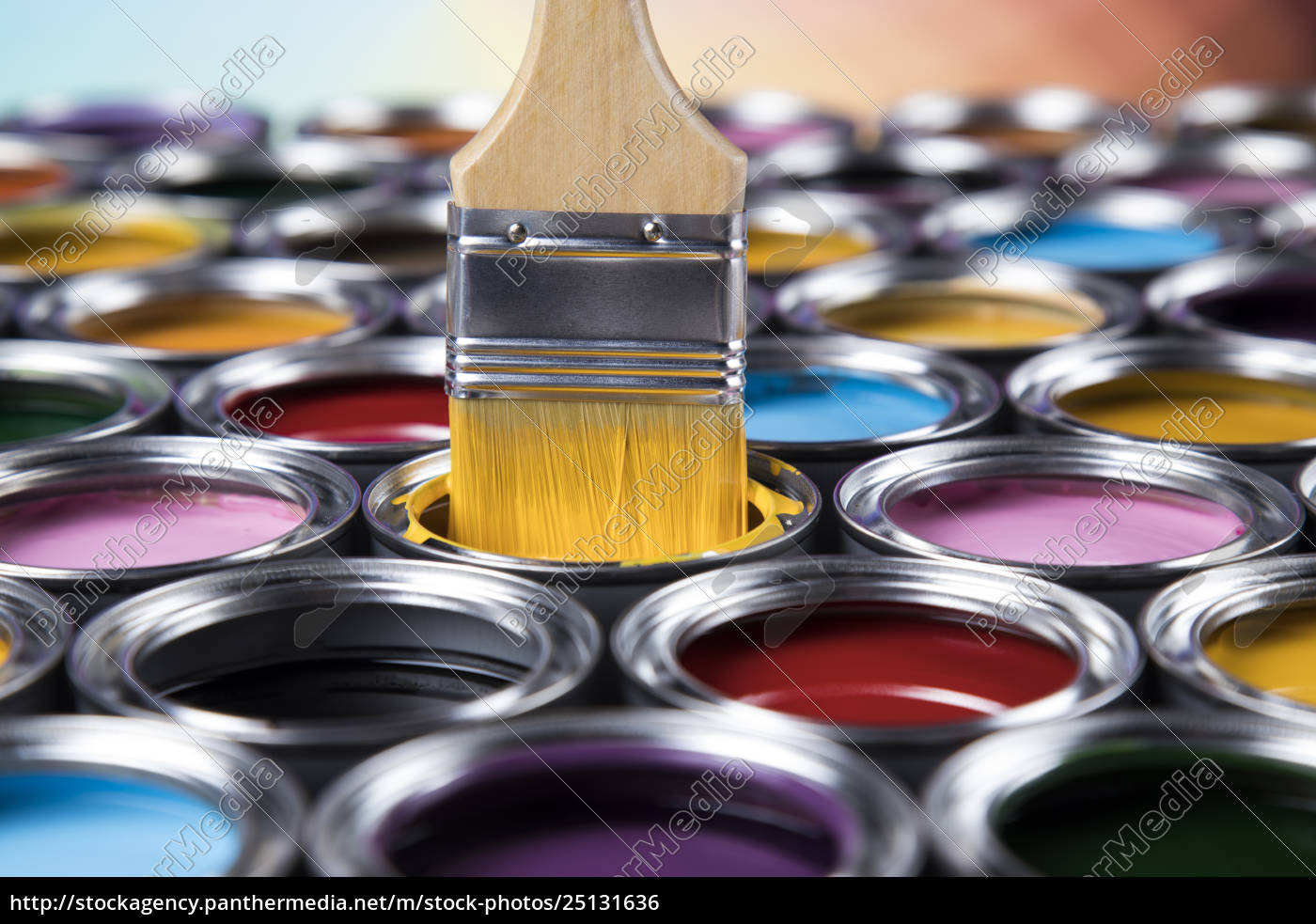 paintbrush, on, cans, with, color - 25131636