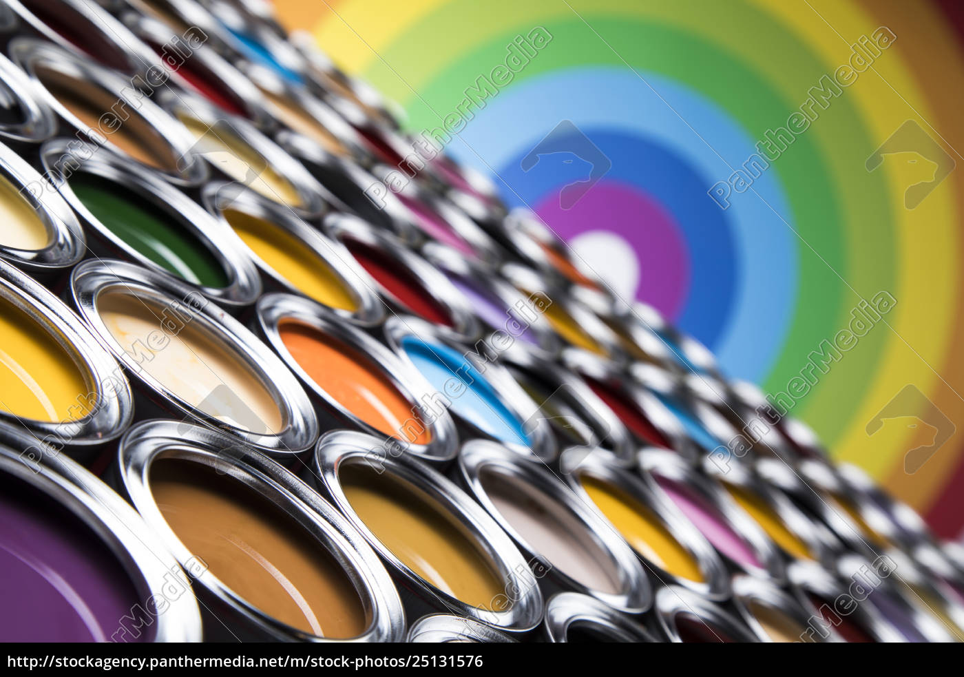 rainbow, , tin, metal, cans, with, color - 25131576