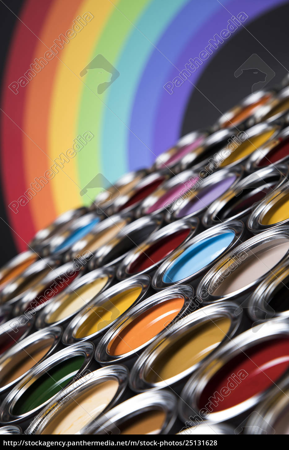 rainbow, , tin, metal, cans, with, color - 25131628