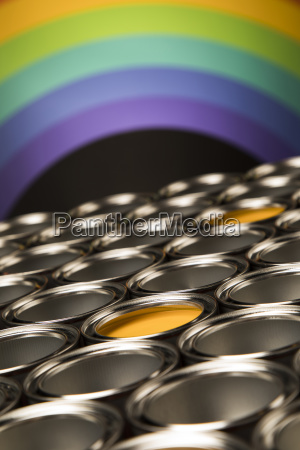 rainbow, colors, , open, cans, of, paint - 25131030