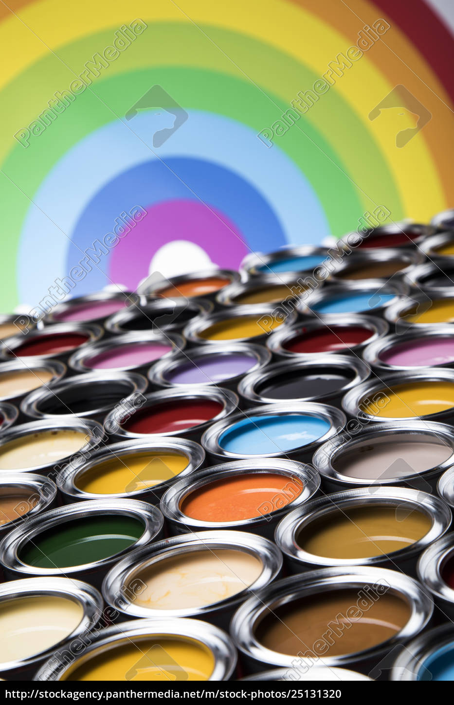 rainbow, colors, , open, cans, of, paint - 25131320