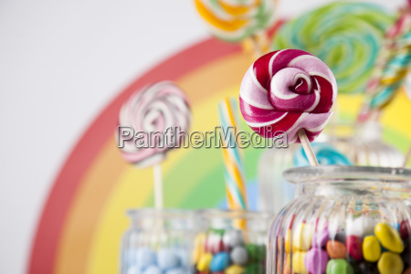 colorful, lollipops, and, different, colored, round - 25135086