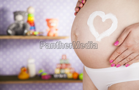 pregnant, woman, loving, heart, her, baby - 25135510